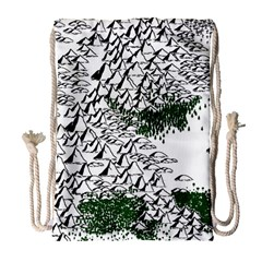 Montains Hills Green Forests Drawstring Bag (large) by Alisyart
