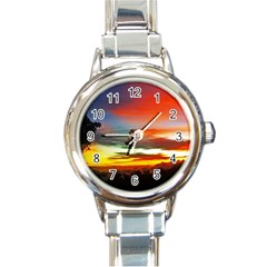 Sunset Mountain Indonesia Adventure Round Italian Charm Watch by Nexatart