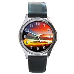 Sunset Mountain Indonesia Adventure Round Metal Watch