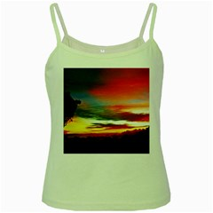 Sunset Mountain Indonesia Adventure Green Spaghetti Tank