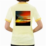 Sunset Mountain Indonesia Adventure Women s Fitted Ringer T-Shirt Back