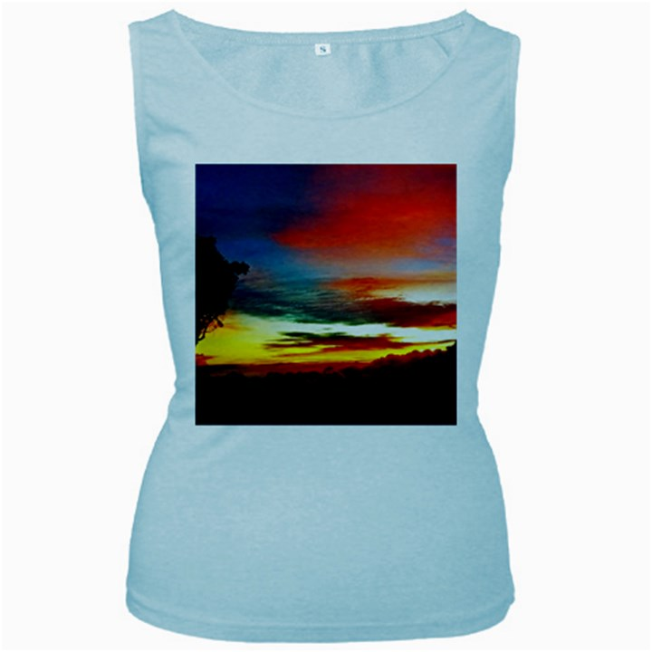 Sunset Mountain Indonesia Adventure Women s Baby Blue Tank Top