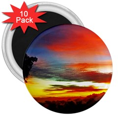 Sunset Mountain Indonesia Adventure 3  Magnets (10 Pack)  by Nexatart