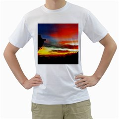 Sunset Mountain Indonesia Adventure Men s T Shirt (white) (two Sided)