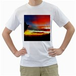 Sunset Mountain Indonesia Adventure Men s T-Shirt (White) (Two Sided) Front