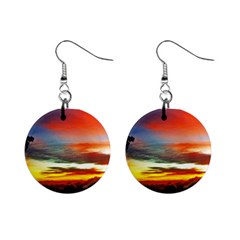 Sunset Mountain Indonesia Adventure Mini Button Earrings by Nexatart