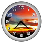 Sunset Mountain Indonesia Adventure Wall Clock (Silver) Front