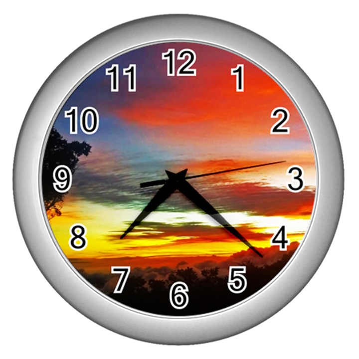Sunset Mountain Indonesia Adventure Wall Clock (Silver)