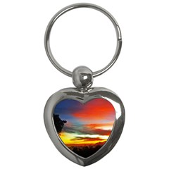 Sunset Mountain Indonesia Adventure Key Chains (heart)  by Nexatart