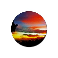 Sunset Mountain Indonesia Adventure Rubber Coaster (Round)