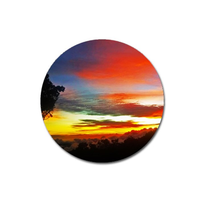 Sunset Mountain Indonesia Adventure Magnet 3  (Round)