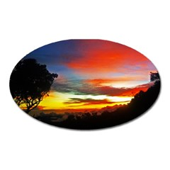 Sunset Mountain Indonesia Adventure Oval Magnet