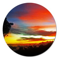 Sunset Mountain Indonesia Adventure Magnet 5  (Round)