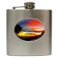 Sunset Mountain Indonesia Adventure Hip Flask (6 Oz) by Nexatart