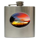 Sunset Mountain Indonesia Adventure Hip Flask (6 oz) Front