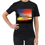 Sunset Mountain Indonesia Adventure Women s T-Shirt (Black) (Two Sided) Front