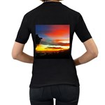 Sunset Mountain Indonesia Adventure Women s T-Shirt (Black) (Two Sided) Back