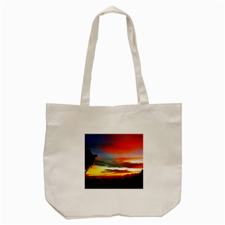 Sunset Mountain Indonesia Adventure Tote Bag (Cream)