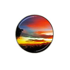 Sunset Mountain Indonesia Adventure Hat Clip Ball Marker