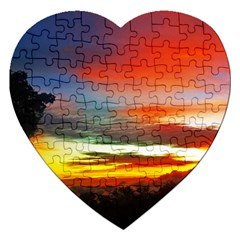 Sunset Mountain Indonesia Adventure Jigsaw Puzzle (Heart)