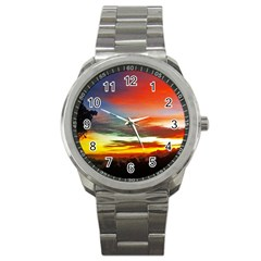 Sunset Mountain Indonesia Adventure Sport Metal Watch