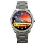 Sunset Mountain Indonesia Adventure Sport Metal Watch Front