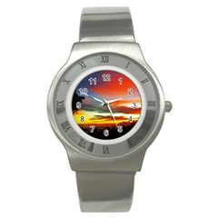 Sunset Mountain Indonesia Adventure Stainless Steel Watch