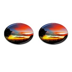 Sunset Mountain Indonesia Adventure Cufflinks (oval) by Nexatart