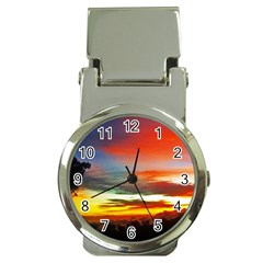 Sunset Mountain Indonesia Adventure Money Clip Watches
