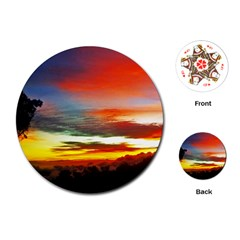 Sunset Mountain Indonesia Adventure Playing Cards (round) by Nexatart