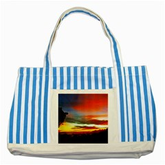 Sunset Mountain Indonesia Adventure Striped Blue Tote Bag