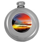 Sunset Mountain Indonesia Adventure Round Hip Flask (5 oz) Front