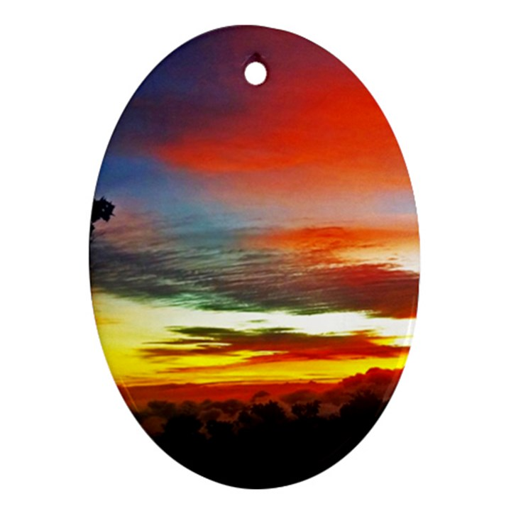 Sunset Mountain Indonesia Adventure Oval Ornament (Two Sides)