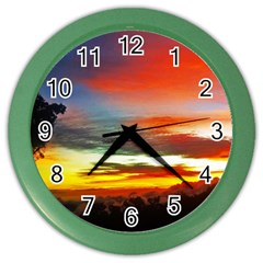 Sunset Mountain Indonesia Adventure Color Wall Clock