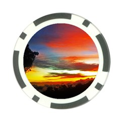 Sunset Mountain Indonesia Adventure Poker Chip Card Guard