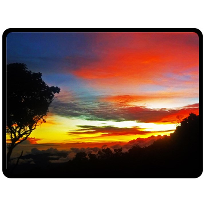 Sunset Mountain Indonesia Adventure Fleece Blanket (Large)