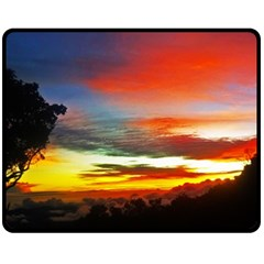 Sunset Mountain Indonesia Adventure Fleece Blanket (medium)