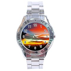 Sunset Mountain Indonesia Adventure Stainless Steel Analogue Watch by Nexatart