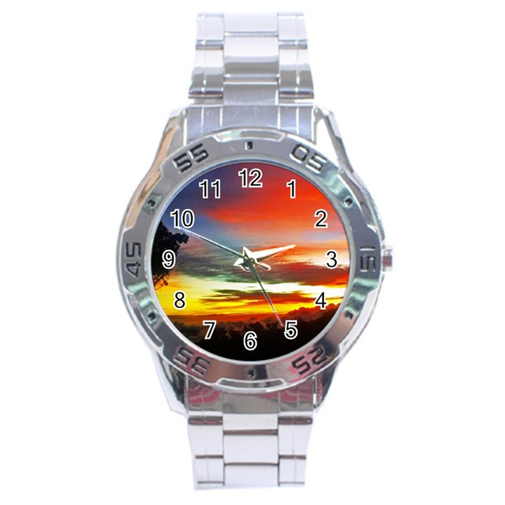 Sunset Mountain Indonesia Adventure Stainless Steel Analogue Watch