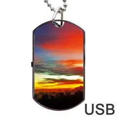 Sunset Mountain Indonesia Adventure Dog Tag USB Flash (One Side)