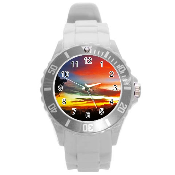 Sunset Mountain Indonesia Adventure Round Plastic Sport Watch (L)