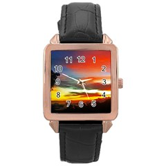 Sunset Mountain Indonesia Adventure Rose Gold Leather Watch