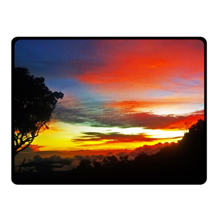 Sunset Mountain Indonesia Adventure Double Sided Fleece Blanket (Small)