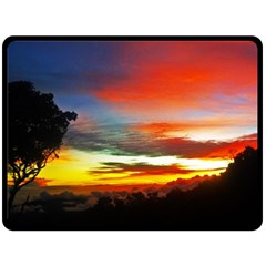 Sunset Mountain Indonesia Adventure Double Sided Fleece Blanket (Large)