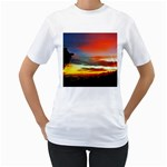 Sunset Mountain Indonesia Adventure Women s T-Shirt (White)  Front
