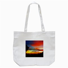 Sunset Mountain Indonesia Adventure Tote Bag (White)