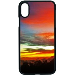 Sunset Mountain Indonesia Adventure Apple iPhone X Seamless Case (Black)