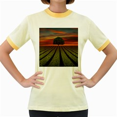 Natural Tree Women s Fitted Ringer T Shirt