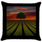 Natural Tree Throw Pillow Case (Black) Front