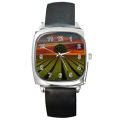 Natural Tree Square Metal Watch